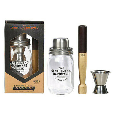 Gentlemen's Hardware Muddler & Glass Jar Cocktail Set