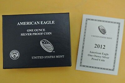 2012 W Proof Silver American Eagle .999 1 oz - US Mint Box & COA #6