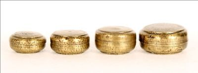 Antique Brass 4 Piece Small Collectible Multipurpose Container Round Box India