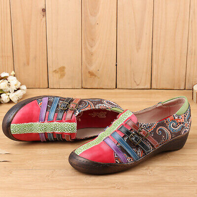 SOCOFY Women Vintage hand-painted Printing Folklore Leather Slip On Shoes Casual