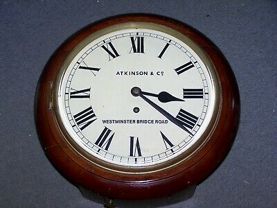 ANTIQUE ENGLISH 10 inch FUSEE DIAL CLOCK IN EXCELLENT WORKING CONDITION