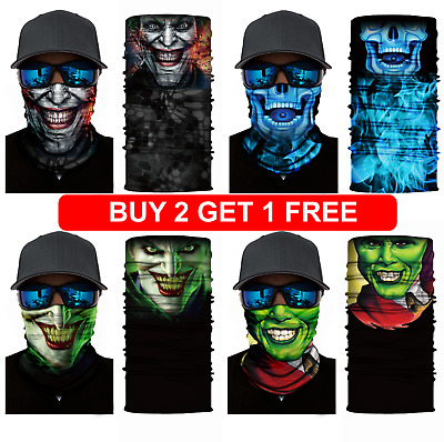 Bandana 30 different Tube Neck Warmer Motorcycle Dust Shield Scary Face Mask