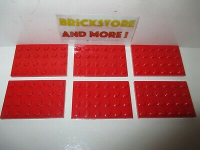 x4 LEGO 3032 @@ Plate 4  x 6 @@ Plaque @@ RED @@ ROUGE