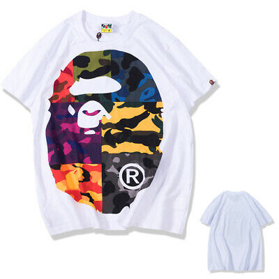 21229c6e8490 New Men s Bape A Bathing Ape Camo Monkey Head Short Sleeve Crew Neck T-shirt