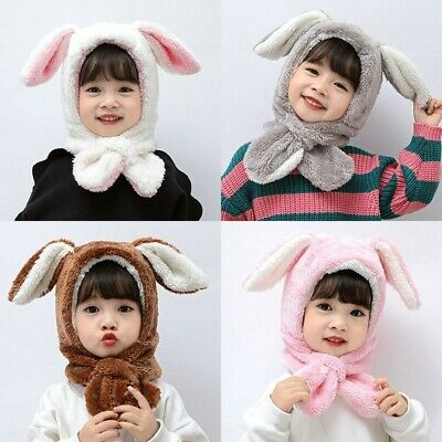 AU Winter Warm Toddler Kids Baby Boys Girls Rabbit Ear Caps Hat Scarf Ear Warmer