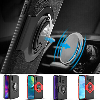 For Huawei P30 Pro Lite 360° Rotate Metal Magnetic Ring Holder Rugged Case Cover