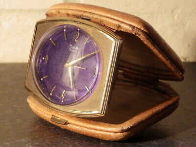 CORAL SWIZA Vintage Leather Cased TRAVEL ALARM CLOCK