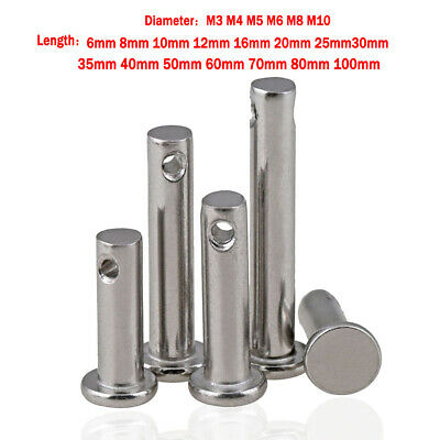 Solid Stainless Steel Clevis Pins Link Hinge Pin 3 4 5 6 8 10mm Farming Sailing