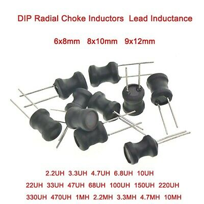 DIP Radial Choke Inductors 6x8 / 8x10 / 9x12mm Lead Inductance 2.2UH to 10MH