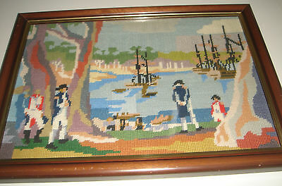 FIRST FLEET Sydney Cove 26.01.1788 Tapestry Australiana Framed Vintage Retro