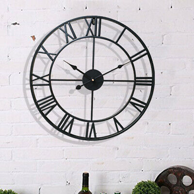 S-L Large Outdoor Garden Wall Clock Metal Roman Numeral Round Face Black UK