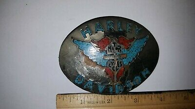 Vintage Harley Davidson Metal Belt Buckle With Tourquoise & Red Coral Inlay Look