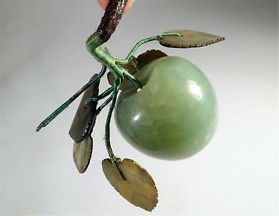 CHINESE CARVED JADE STONE APPLE Fruit  OLD