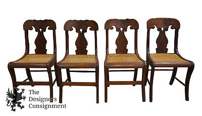 4 Antique Crotch Walnut Federal Empire Cane Seat Dining Side Chairs Scrolled