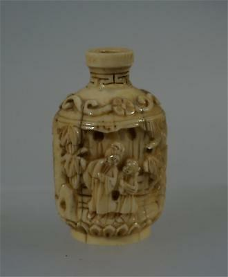 Exquisite Antique Finely Carved Chinese Snuff Bottle Cream