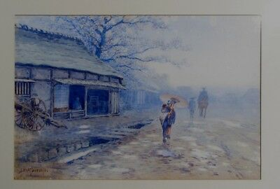 PAINTING Y MATSUMOTO JAPANESE  20th. WESTERN STYLE  WATER COLOUR CHERRY BLOSSOM