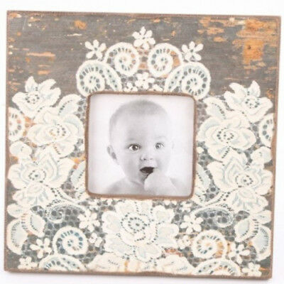 Square shabby chic wooden photo frame with lace pattern design