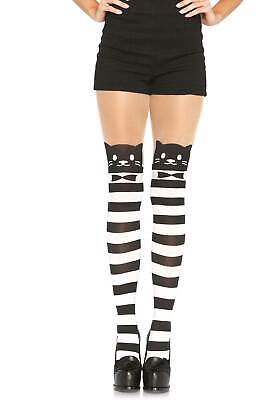 Fancy Black & White Cat Striped Tights, Halloween, Crazy Cat Lady, Kitty, Witch