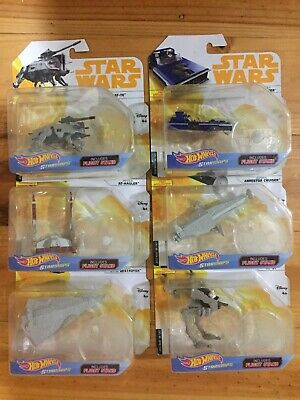 Star Wars Hot Wheels Ships AT-TE Han's Speeder AT Hauler AT-ST Arrestor Cruiser