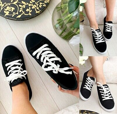 Ladies Womens Summer Flat Lace Up Girls Canvas Pumps Plimsolls Trainers Shoes Sz