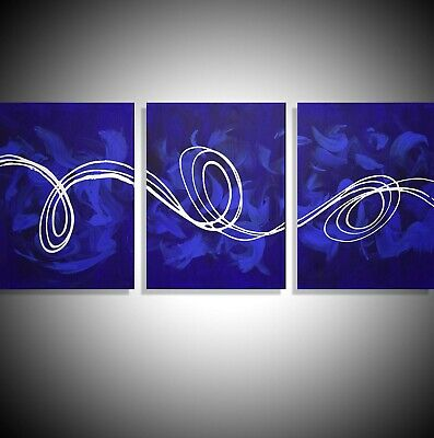 Deep Blue Large 3 Panel Abstract Triptych Canvas Wall Art Abstract