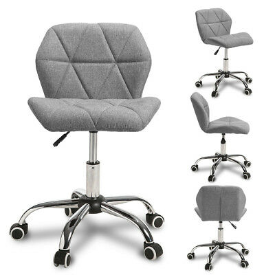 Adjustable Cushioned Computer Desk Office Chair Swivel Chrome Leg Fabric Grey