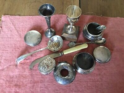 Vintage job lot silver and silver plate