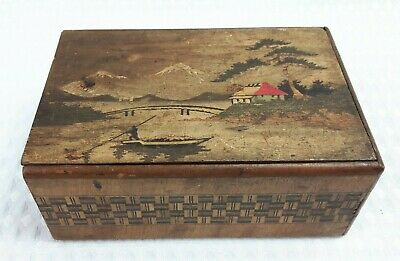 Vintage 15cm Patterned Wooden Slide Lid Box With Oriental Painted View - Treen