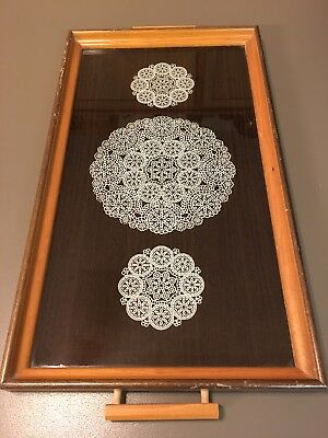 """Antique Vintage Wood with Glass 3 Doilies Design Large Serving Tray 21 x 11"""""""