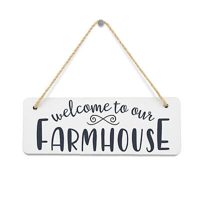 Welcome To Our Farmhouse Hanging Wall / Door Plaque. MDF Glossy Sign with Rope