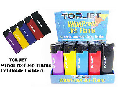 5 X TORJET Windproof Jet Flame Refillable Electronic Lighter