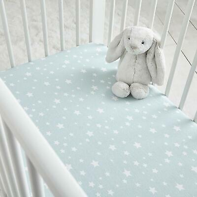 Silentnight Safe Nights 2 Fitted Sheets - Duck Egg/White Star - Cot / Cot Bed
