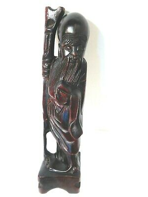 Vintage Antique Hand Carved Shou Xing Chinese Longevity Statue w Staff Wooden