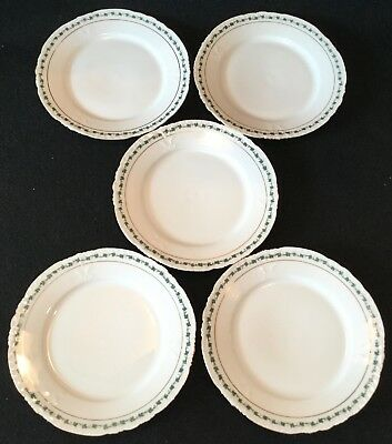 5 Antique G.R LIMOGES Scalloped Hand Painted & Embossed Porcelain Dessert Plates
