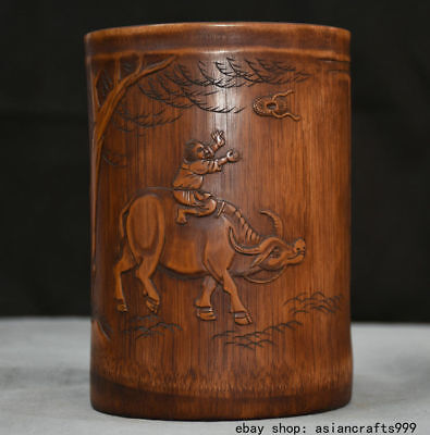 "7 ""Old China Bamboo Shepherd Junge Auf Bull Brush Pot Bleistift Vase"