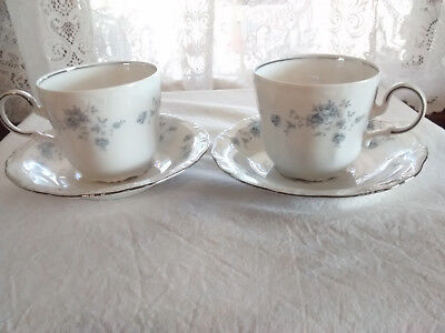 2 Vintage Johann Haviland Blue Garland Cups & Saucers Bavaria Germany