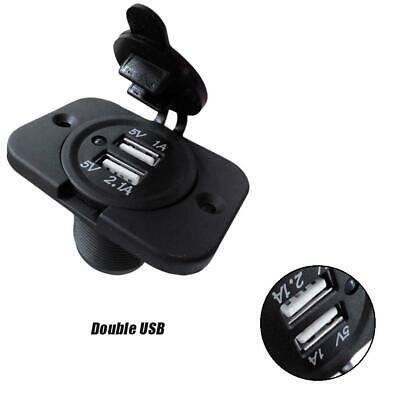 12V Dual USB Car Charger Car Power Socket Outlet Plug Charging Panel Mount