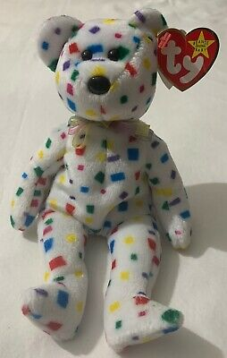 192e4cb67af Rare Errors Ty 2K Beanie Babies Bear White Confetti Red Yellow Blue Green  50%OFF