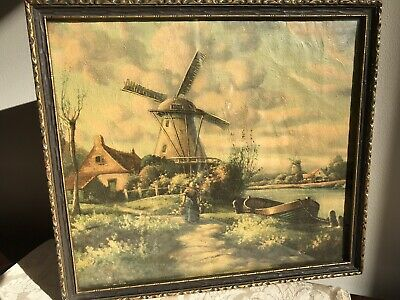 "1940s Framed Windmill Landscape Textured Print Antique Frame 10"" By 12"""