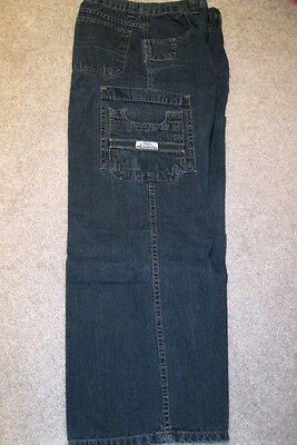 New Boys Dark Blue/Black Wash Carpenter Jeans Authentic Blu Jeans Size 16 Reg