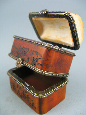 Antique Chinese Old Cow bone Hand Painted Beautiful girl Jewelry Box