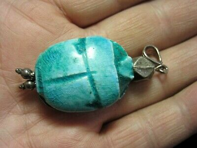 Green Scarab Beetle Handmade Pendant Egyptian Word Ceramic  Silver **New**