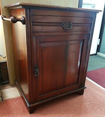 Antique victorian solid oak bathroom freestanding cabinet cupboard with drawer