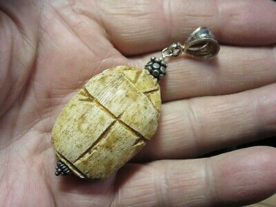 Brown Scarab Beetle Handmade Pendant Egyptian Word Ceramic Silver **New**