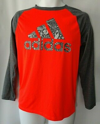 Red NWT Youth Adidas Climalite Football Crumble Short Sleeve T-Shirt