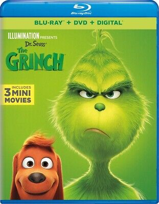 Dr Seuss' The Grinch (Blu-ray + DVD + DIGITAL  Disc, 2019)