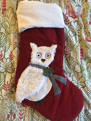 Pottery Barn Christmas Stocking EUC Red White Snowy Horned Owl With Gray Scarf