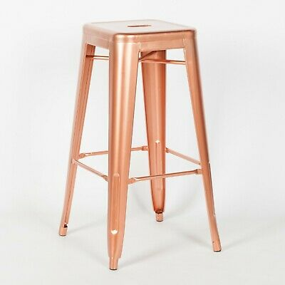Tolix Inspired Metal Bar Stool Rose Gold Paint Industrial Breakfast Cafe Garden