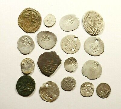 Lot Of 17 Ancient Silver & Copper Ottoman Islamic Turkey Coins 09
