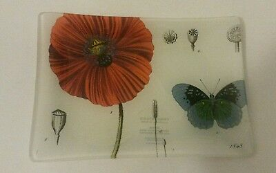 Fringe Studios Glass Rectangle Tray/Dish Poppy & Butterfly pattern